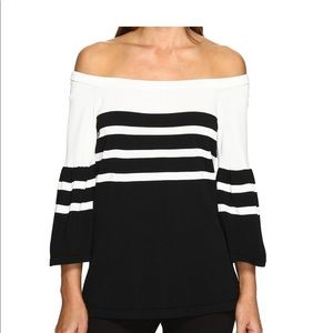 CALVIN KLEIN Striped Bell Sleeve Sweater Top Large